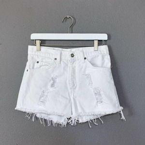 Vintage LEVI'S White Custom Distressed Cut-Offs 29